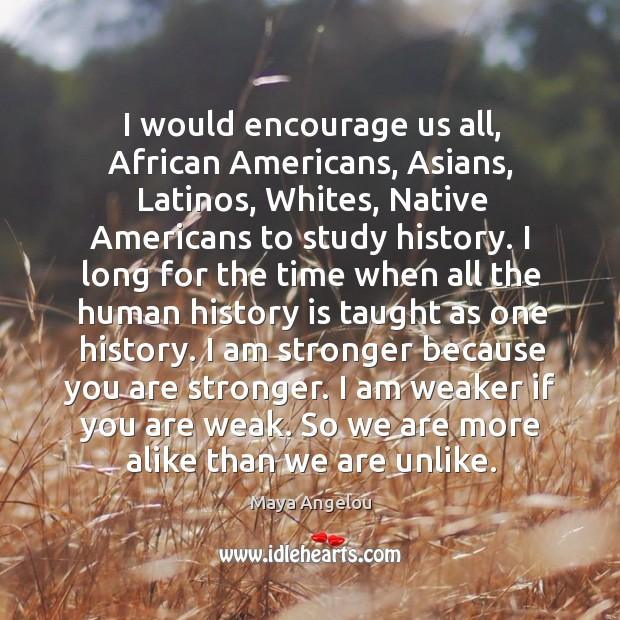 Image, I would encourage us all, african americans, asians, latinos, whites, native americans to study history.