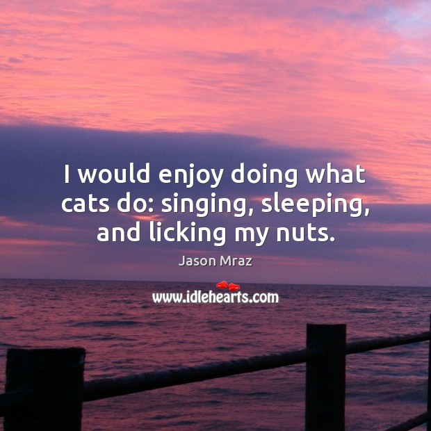 Image, I would enjoy doing what cats do: singing, sleeping, and licking my nuts.