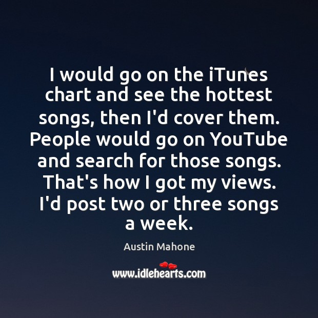 I would go on the iTunes chart and see the hottest songs, Image
