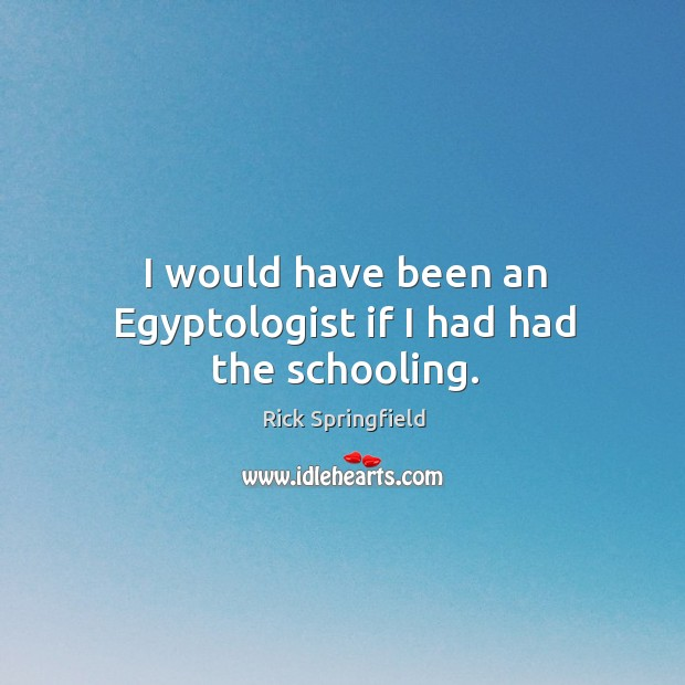 I would have been an egyptologist if I had had the schooling. Rick Springfield Picture Quote