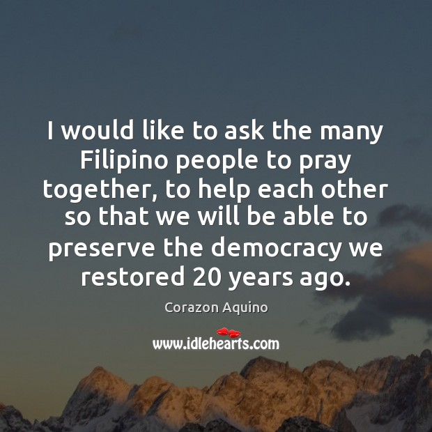 I would like to ask the many Filipino people to pray together, Image