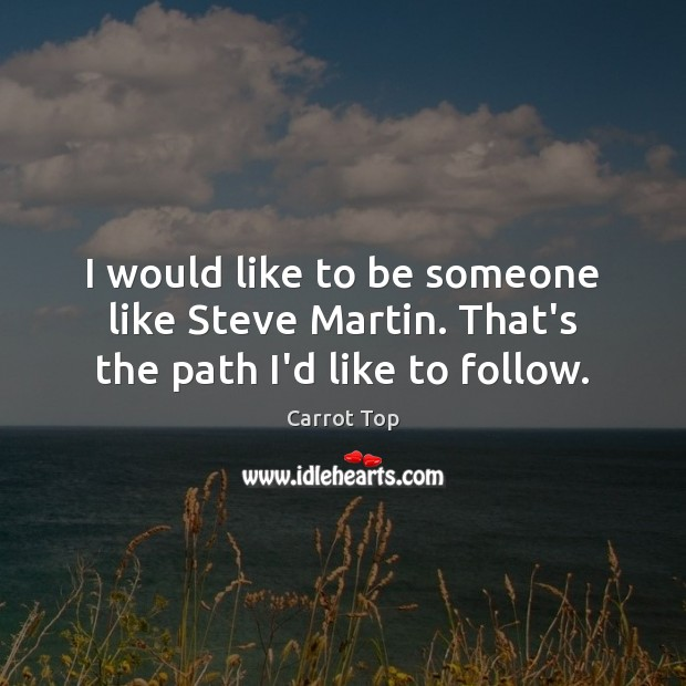 I would like to be someone like Steve Martin. That's the path I'd like to follow. Carrot Top Picture Quote