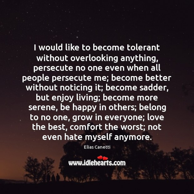Image, I would like to become tolerant without overlooking anything, persecute no one