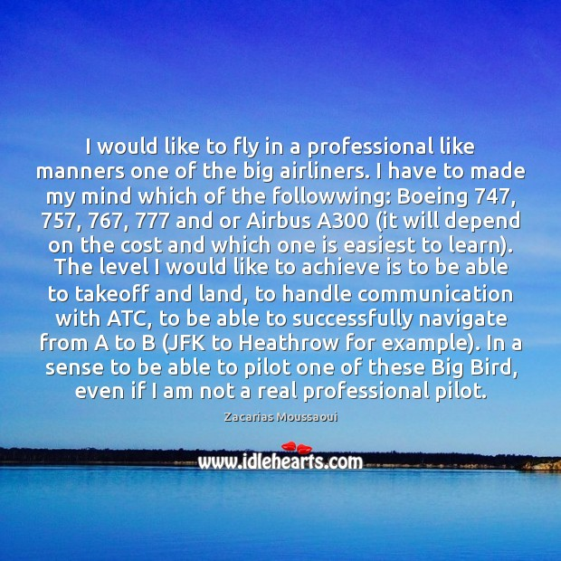 I would like to fly in a professional like manners one of Image