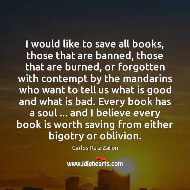 Image, I would like to save all books, those that are banned, those