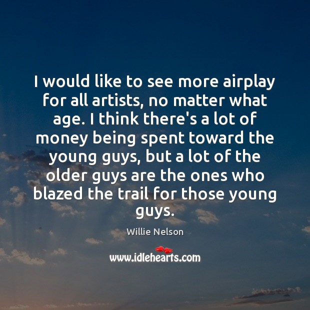 Image, I would like to see more airplay for all artists, no matter