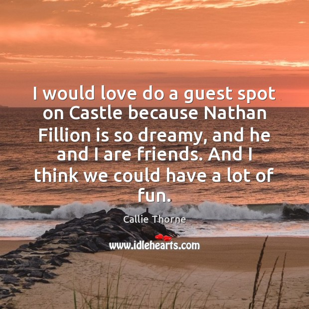 Image, I would love do a guest spot on Castle because Nathan Fillion