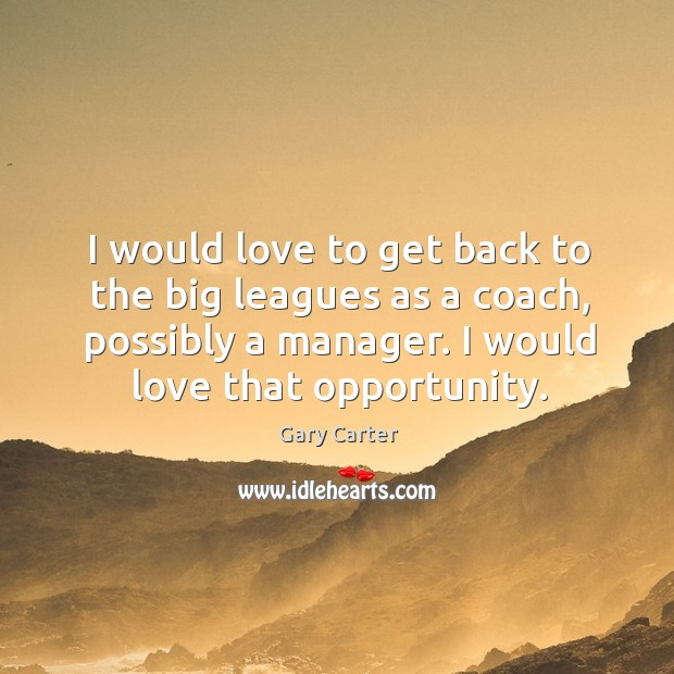 I would love to get back to the big leagues as a coach, possibly a manager. I would love that opportunity. Image