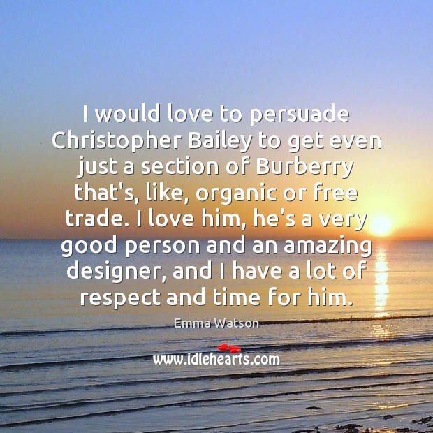 Image, I would love to persuade Christopher Bailey to get even just a