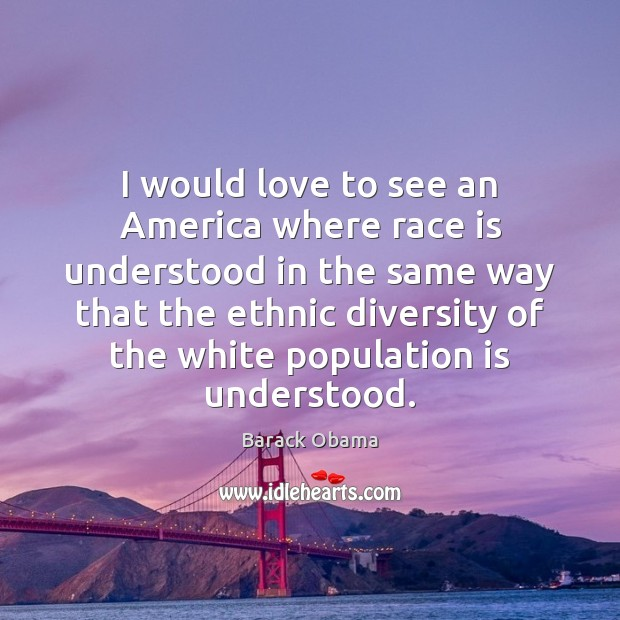 I would love to see an America where race is understood in Image
