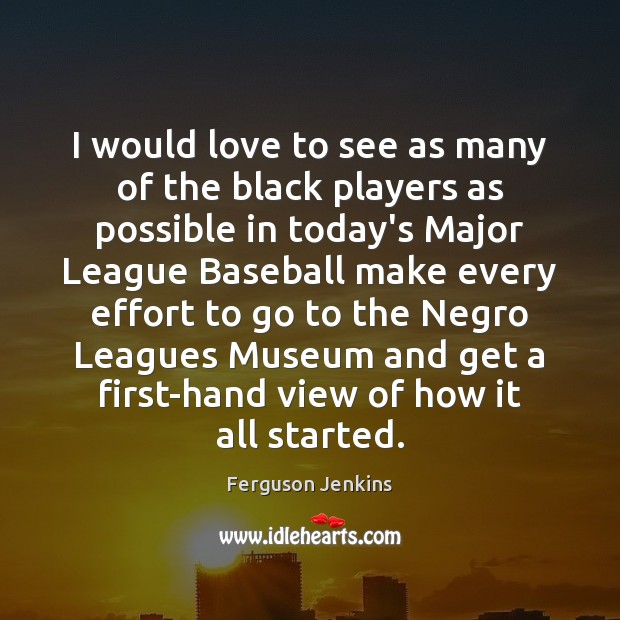 I would love to see as many of the black players as Ferguson Jenkins Picture Quote