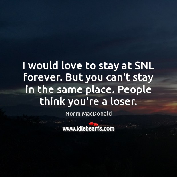 I would love to stay at SNL forever. But you can't stay Norm MacDonald Picture Quote