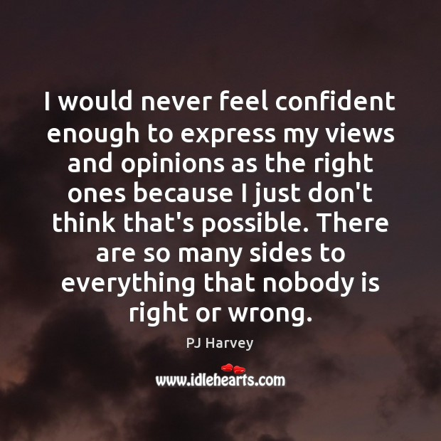 I would never feel confident enough to express my views and opinions Image