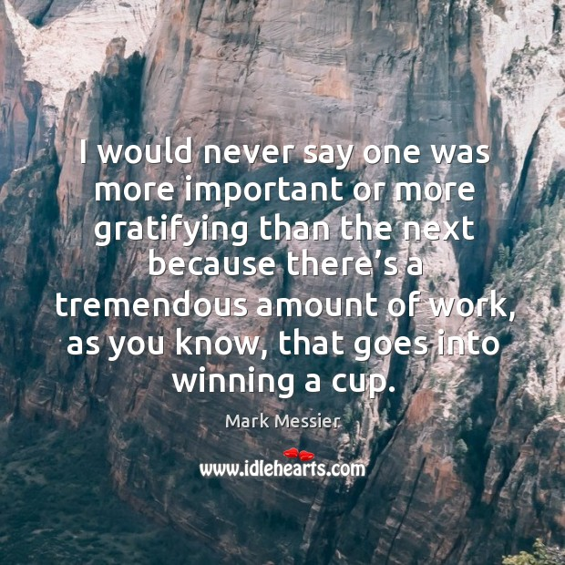 I would never say one was more important or more gratifying than the next because there's Mark Messier Picture Quote