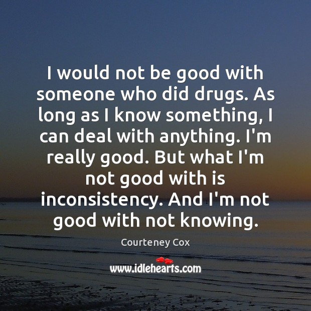 I would not be good with someone who did drugs. As long Courteney Cox Picture Quote