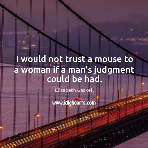 Image, I would not trust a mouse to a woman if a man's judgment could be had.