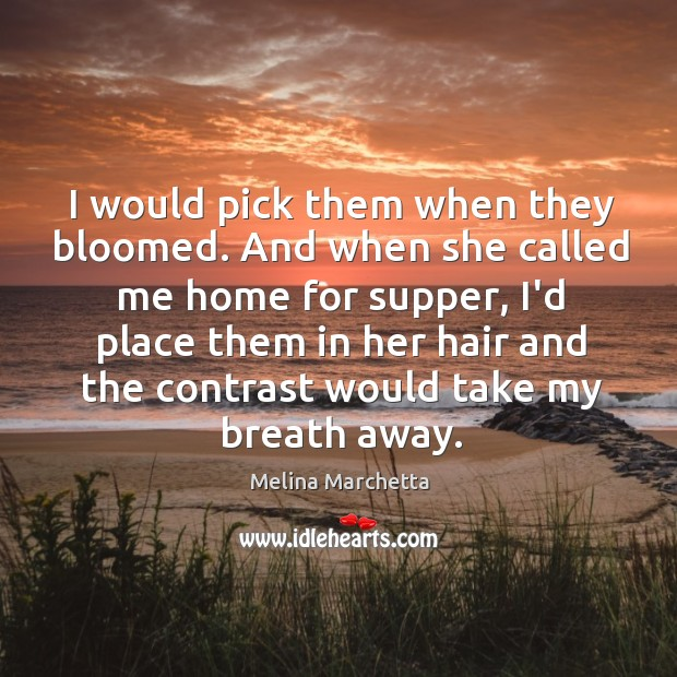 I would pick them when they bloomed. And when she called me Melina Marchetta Picture Quote