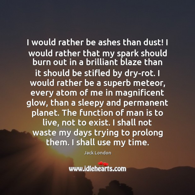 I would rather be ashes than dust! I would rather that my Image