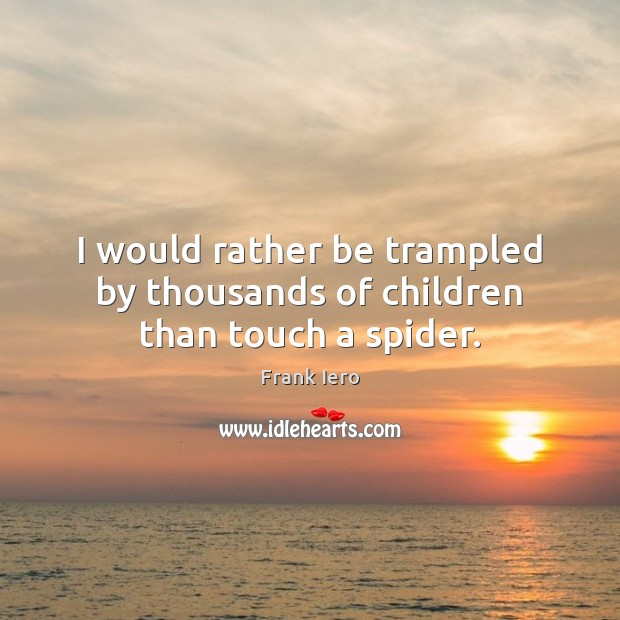 Image, I would rather be trampled by thousands of children than touch a spider.