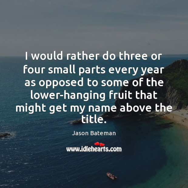 I would rather do three or four small parts every year as Image