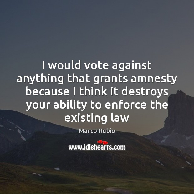 I would vote against anything that grants amnesty because I think it Ability Quotes Image