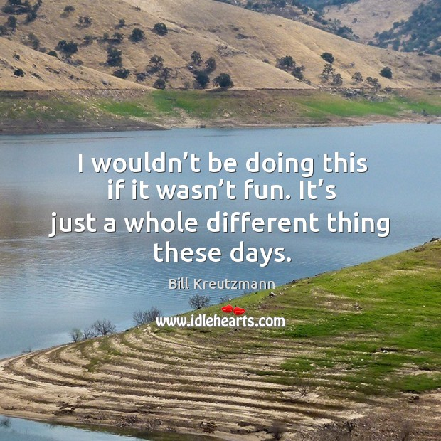I wouldn't be doing this if it wasn't fun. It's just a whole different thing these days. Bill Kreutzmann Picture Quote