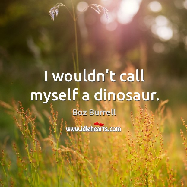 Image, I wouldn't call myself a dinosaur.