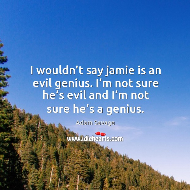 I wouldn't say jamie is an evil genius. I'm not sure he's evil and I'm not sure he's a genius. Image