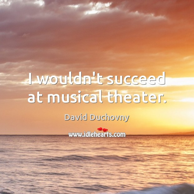 I wouldn't succeed at musical theater. David Duchovny Picture Quote