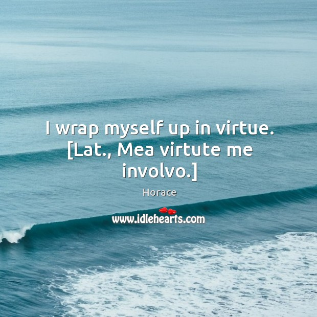 I wrap myself up in virtue. [Lat., Mea virtute me involvo.] Image