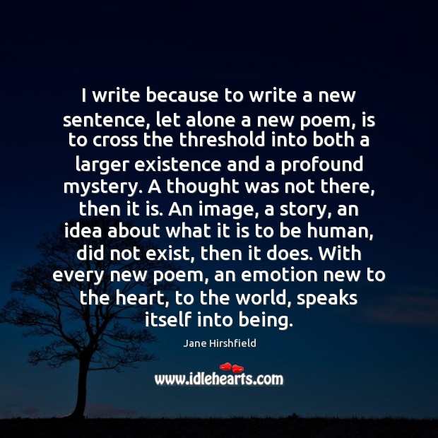 Image, I write because to write a new sentence, let alone a new