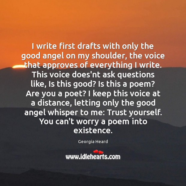I write first drafts with only the good angel on my shoulder, Image