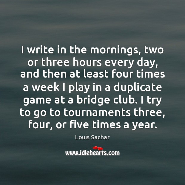 I write in the mornings, two or three hours every day, and Image