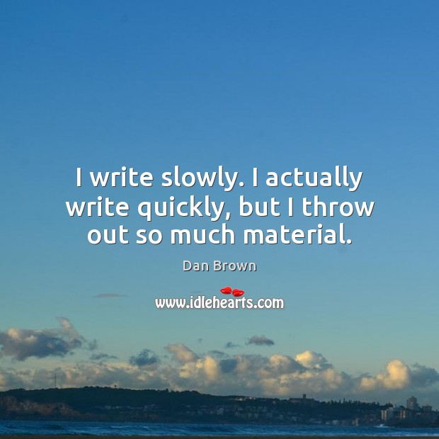 I write slowly. I actually write quickly, but I throw out so much material. Image