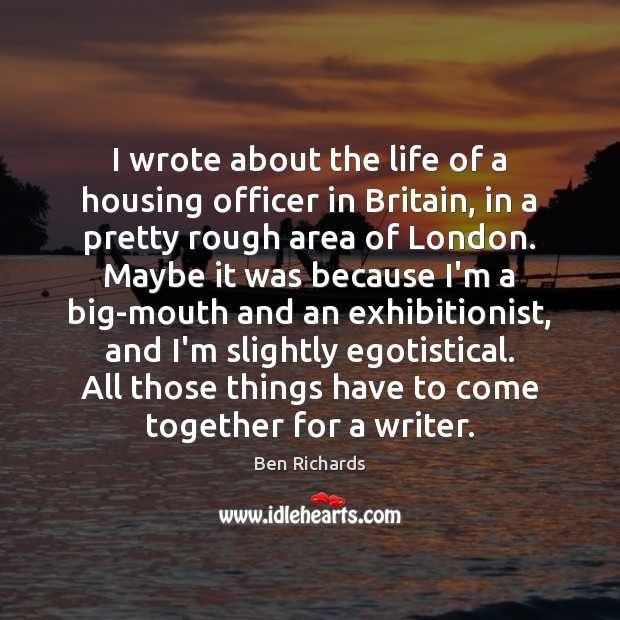 Image, I wrote about the life of a housing officer in Britain, in