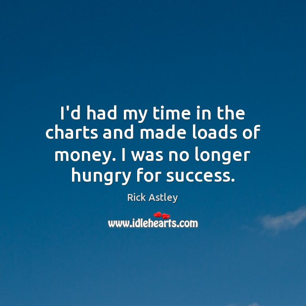 I'd had my time in the charts and made loads of money. I was no longer hungry for success. Image