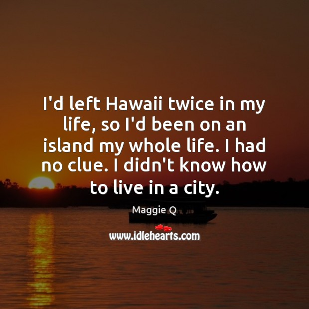 I'd left Hawaii twice in my life, so I'd been on an Maggie Q Picture Quote