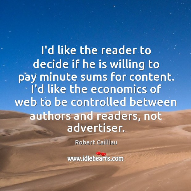 I'd like the reader to decide if he is willing to pay Image