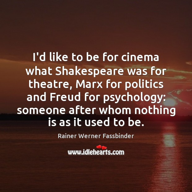 I'd like to be for cinema what Shakespeare was for theatre, Marx Rainer Werner Fassbinder Picture Quote