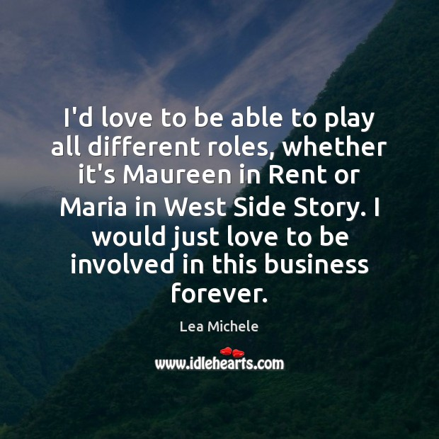I'd love to be able to play all different roles, whether it's Lea Michele Picture Quote