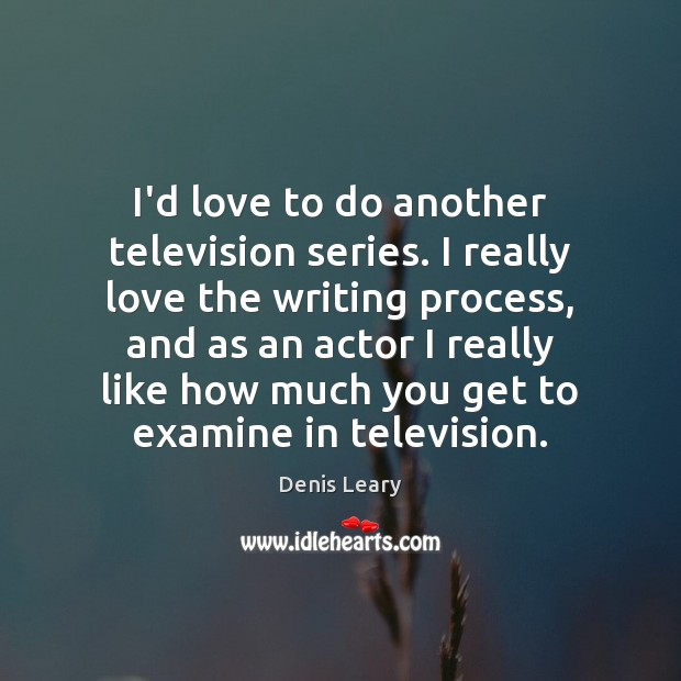 I'd love to do another television series. I really love the writing Denis Leary Picture Quote