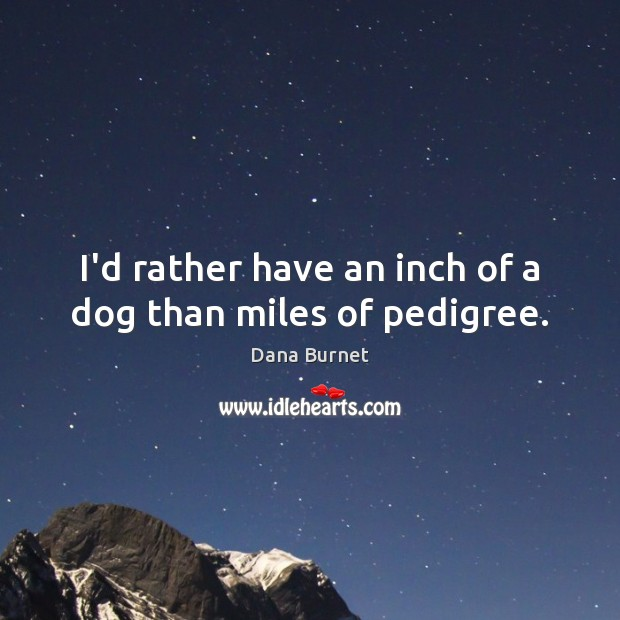 I'd rather have an inch of a dog than miles of pedigree. Image