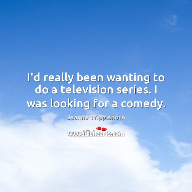 I'd really been wanting to do a television series. I was looking for a comedy. Image