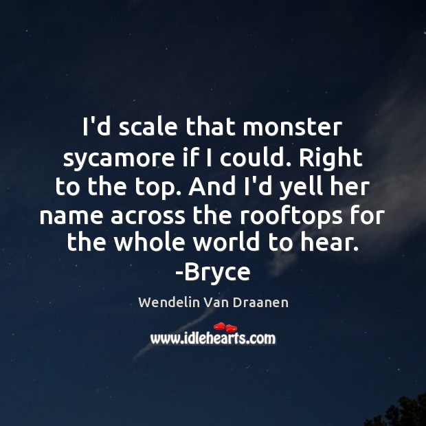 I'd scale that monster sycamore if I could. Right to the top. Wendelin Van Draanen Picture Quote