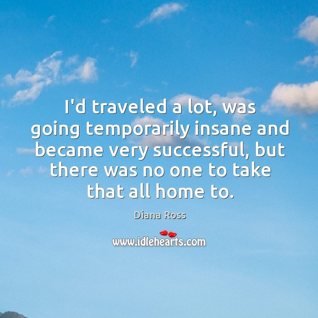 I'd traveled a lot, was going temporarily insane and became very successful, Diana Ross Picture Quote