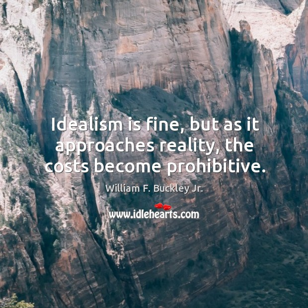 Idealism is fine, but as it approaches reality, the costs become prohibitive. Image