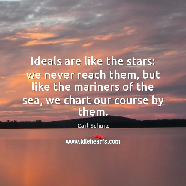 Ideals are like the stars: we never reach them, but like the Carl Schurz Picture Quote