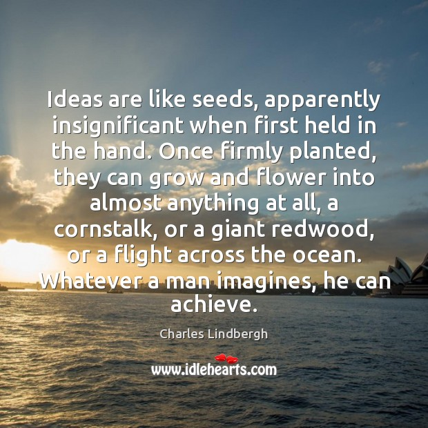 Image, Ideas are like seeds, apparently insignificant when first held in the hand.