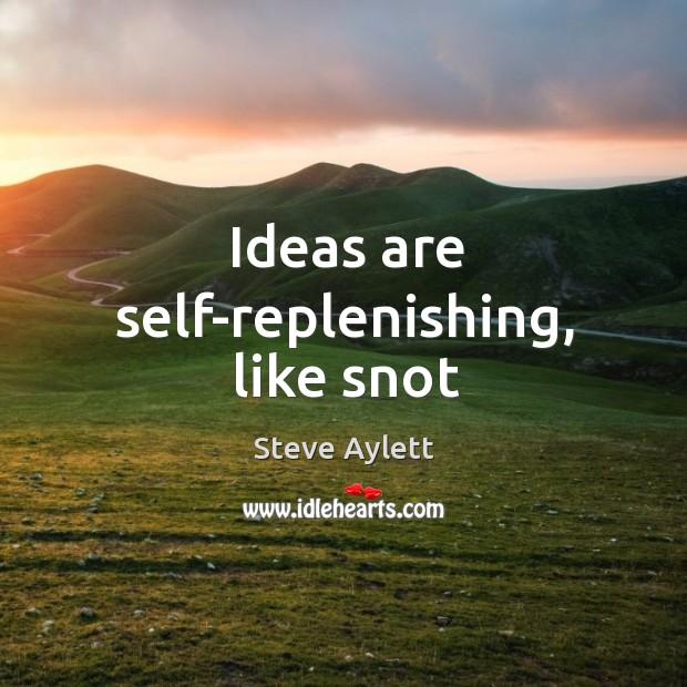 Ideas are self-replenishing, like snot Image