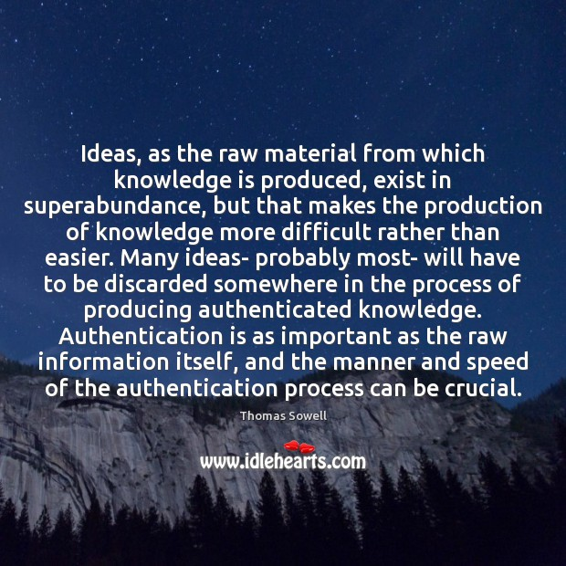 Ideas, as the raw material from which knowledge is produced, exist in Thomas Sowell Picture Quote
